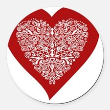 Red sparkling heart with detailed Round Car Magnet
