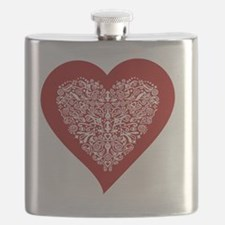 Red sparkling heart with detailed white orna Flask
