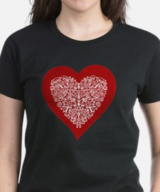 Red sparkling heart with deta Tee
