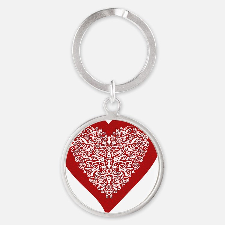 Red sparkling heart with detailed w Round Keychain