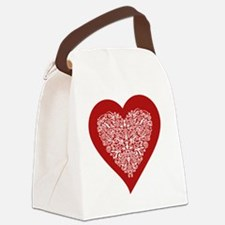 Red sparkling heart with detailed Canvas Lunch Bag
