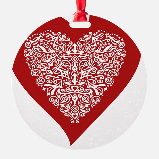 Red sparkling heart with detailed w Ornament