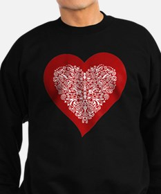 Red sparkling heart with detaile Sweatshirt