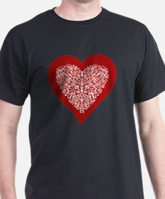 Red sparkling heart with detailed whi T-Shirt
