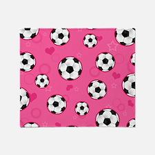 Cute Soccer Ball Print - Pink Throw Blanket