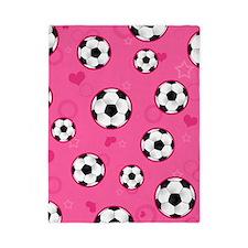 Cute Soccer Ball Print - Pink Twin Duvet
