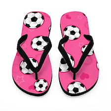 Cute Soccer Ball Print - Pink Flip Flops