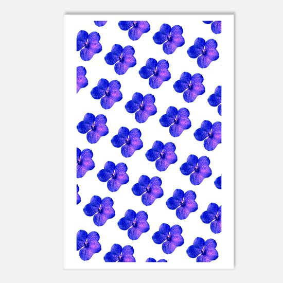 Blue Floral Sparkles 23 Postcards (Package of 8)