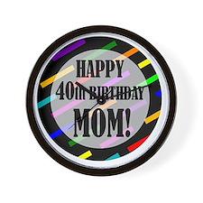 40th Birthday For Mom Wall Clock