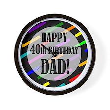 40th Birthday For Dad Wall Clock
