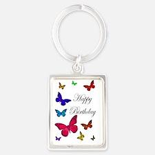 Thank You Colourful Butterflies Portrait Keychain