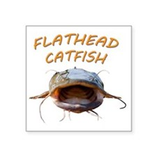 "Flathead Catfish Square Sticker 3"" x 3"""