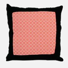 Coral Quatrefoil Pattern Throw Pillow