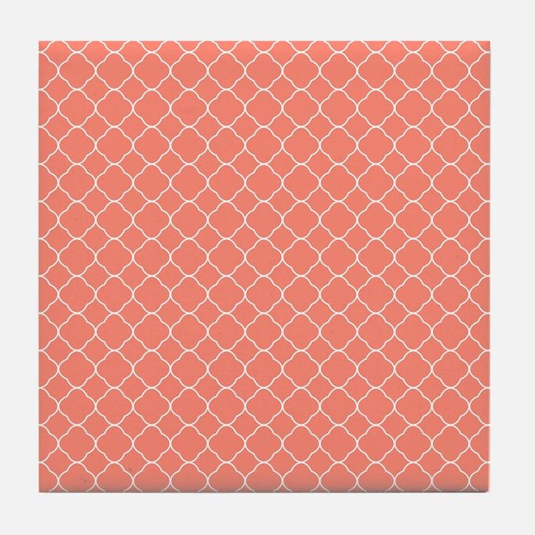 Coral Quatrefoil Pattern Tile Coaster