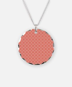 Coral Quatrefoil Pattern Necklace
