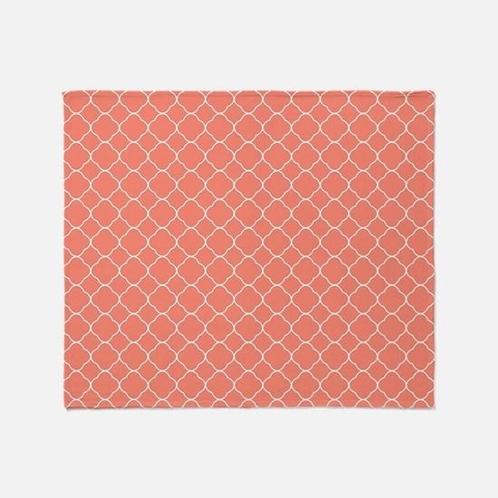 Coral Quatrefoil Pattern Throw Blanket