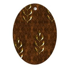 Gold Leaves Oval Ornament