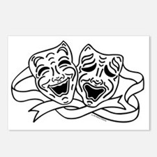 Comedy Tragedy Drama Mask Postcards (Package of 8)