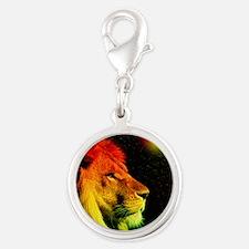 Rasta Lion  Silver Round Charm