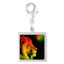 Rasta Lion  Silver Square Charm