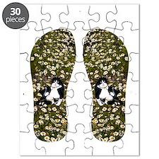 Cat in Daisies flip flops Puzzle