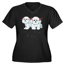 BICHON FRISE Women's Plus Size Dark V-Neck T-Shirt