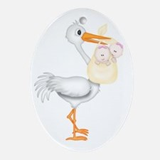 STORK WITH TWIN GIRLS Oval Ornament