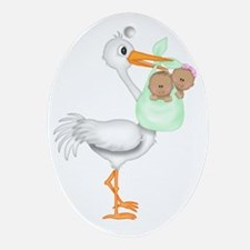 STORK WITH AFRO AMERICAN TWINS- 1 BO Oval Ornament
