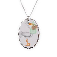 STORK WITH AFRO AMERICAN TWINS Necklace