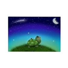 Turtle Moon and Stars (wb) Rectangle Magnet