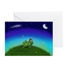 Turtle Moon and Stars (wb) Greeting Card