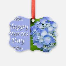 Happy Nurses Day With Blue Hydran Ornament