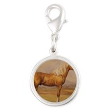 Palomino Horse Silver Round Charm