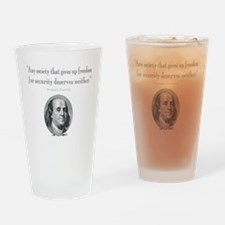 Benjamin Franklin Freedom for Secur Drinking Glass