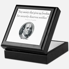 Benjamin Franklin Freedom for Securit Keepsake Box