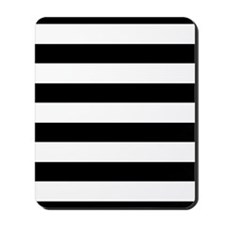 Chic Black and White Stripes Mousepad