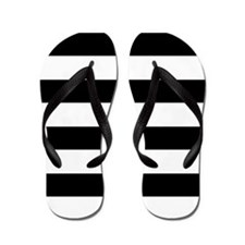 Chic Black and White Stripes Flip Flops