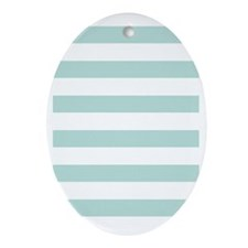 Stripes 1 5x7 W Lt Teal Oval Ornament