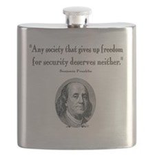 Benjamin Franklin Freedom for Security Quote Flask