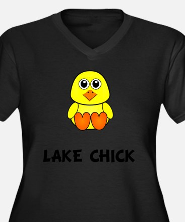 Lake Chick Women's Plus Size Dark V-Neck T-Shirt