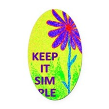 Wildflower Keep It Simple Oval Car Magnet