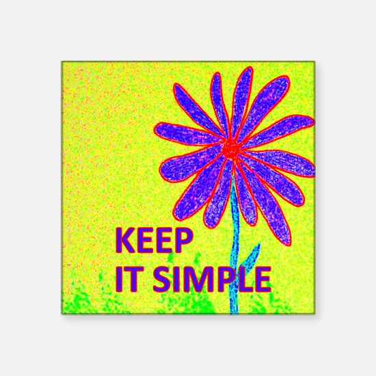 "Wildflower Keep It Simple Square Sticker 3"" x 3"""