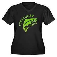 SHM Logo Women's Plus Size Dark V-Neck T-Shirt