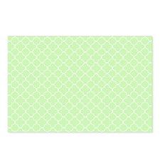 mint white quatrefoil bg Postcards (Package of 8)