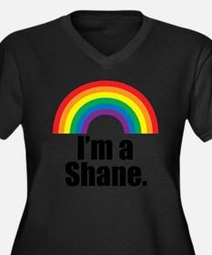 imashane Women's Plus Size Dark V-Neck T-Shirt