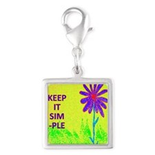 Wildflower Keep It Simple Silver Square Charm