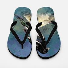 Watercolor Magpie Bird Art Flip Flops