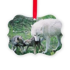 """""""Mother Wolf  With Two  Cubs"""" Ornament"""