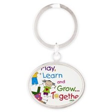 Play, Learn, Grow Together! Oval Keychain