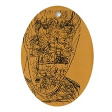cluttered mind Oval Ornament